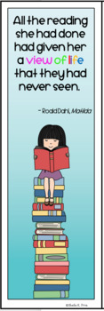 Book Quote Bookmark - Matilda - Color and Black/White -  Fun with a Novel Study!