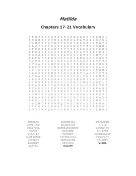 Matilda Ch. 17-21 Vocabulary Word Search