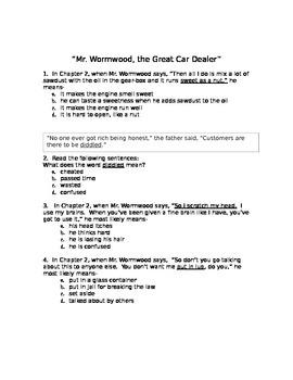 Matilda Chapter Comprehension MC Study Guides (Test Prep Format)