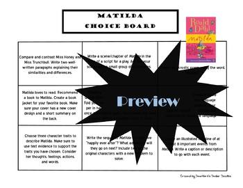 Matilda Choice Board Novel Study Activities Menu Book Project Rubric