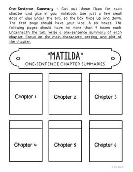 Matilda Interactive Notebook Novel Unit Study Activities, Book Report Project