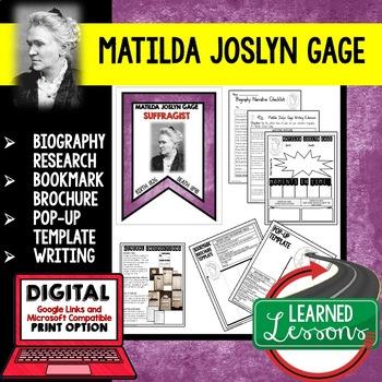 Matilda Joslyn Gage Biography Research, Bookmark, Pop-Up, Writing