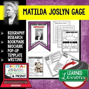 Matilda Joslyn Gage Biography Research, Bookmark, Pop-Up, Writing