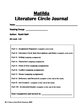 Matilda Literature Circle Journal Student Packet