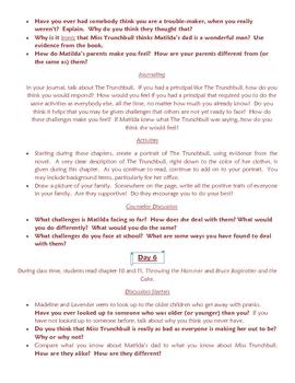 Matilda Literature Guide Novel Study Bibliotherapy