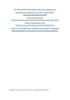 Matilda Literature unit by Roald Dahl