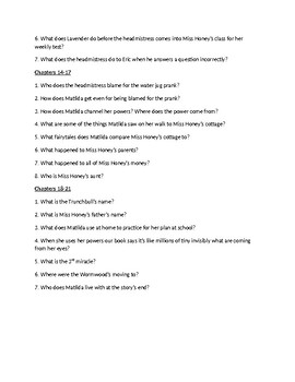 Matilda Novel Review Questions by Chapter
