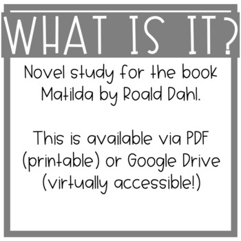 Matilda Novel Study!