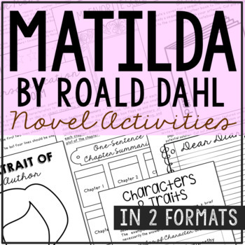 Matilda Novel Unit Study Activities, Book Companion Worksheets, Project