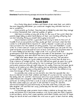 Matilda Passage with Questions and Essay