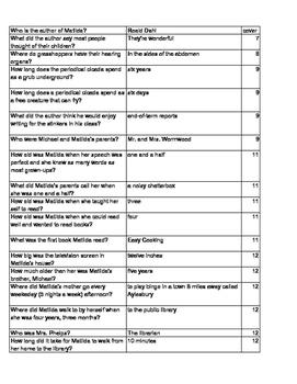 Matilda Hexbusters quiz - Books by Roald Dahl - Information ...