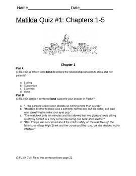 Matilda Test or Quizzes Chapters 1-21 by Roald Dahl