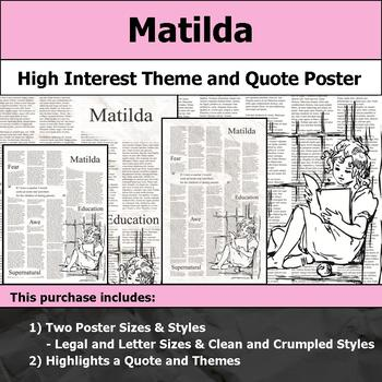 Matilda - Visual Theme and Quote Poster for Bulletin Boards