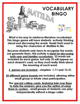 Matilda Vocabulary Bingo