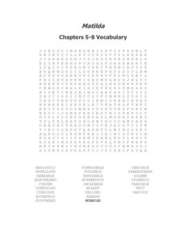 Matilda Vocabulary Word Search Packet