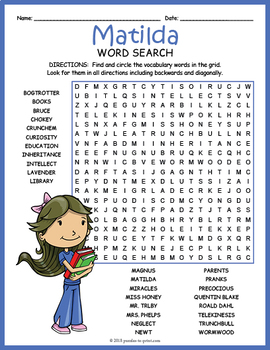 Matilda Word Search Puzzle By Puzzles To Print Tpt