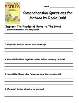 Matilda by Roald Dahl Comprehension Packet