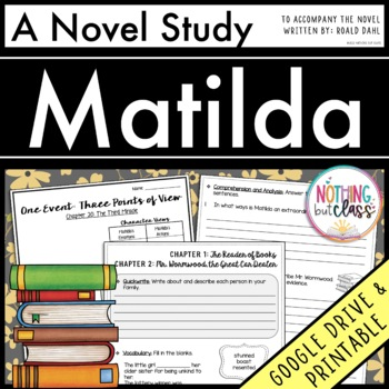Matilda Novel Study Unit: comprehension, vocabulary, activ