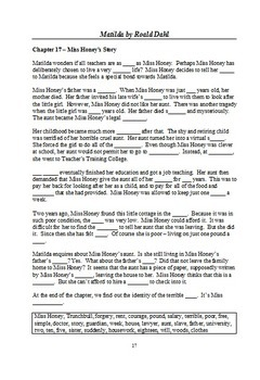 Matilda by Roald Dahl - Plot Summary in Cloze Format
