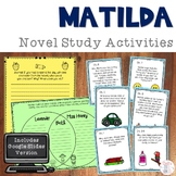 Matilda Novel Study Activities with DIGITAL Versions