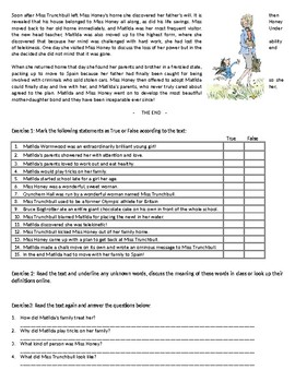 Matilda - by Roald Dahl - Reading Comprehension Text