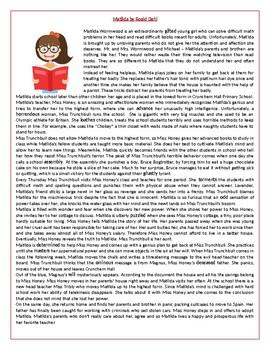 Matilda by Roald Dahl - Reading Comprehension / Vocabulary worksheet