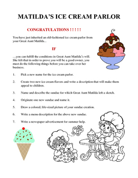 Matilda's Ice Cream Parlor - Language Arts Activity