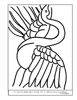 Matisse, Henri.  The Swan.  Coloring page and lesson ideas
