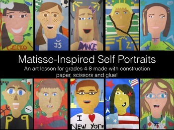 Matisse Inspired Paper Self-Portait Collage Project Art Le