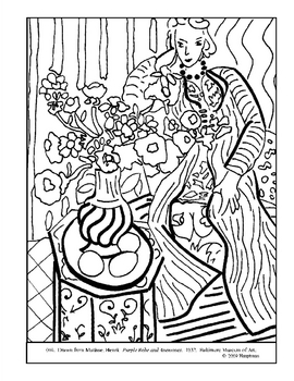 Matisse.Purple Robe and Anemonies.Coloring page and lesson plan ideas