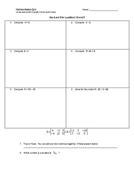Matrices Basics Quiz with 4 versions and keys