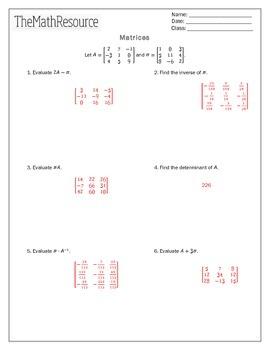 Matrices Calculator Practice - Worksheet