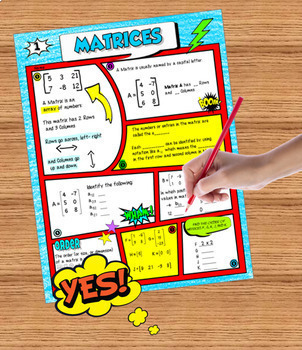 Matrices Comic Book Doodle Notes plus Practice