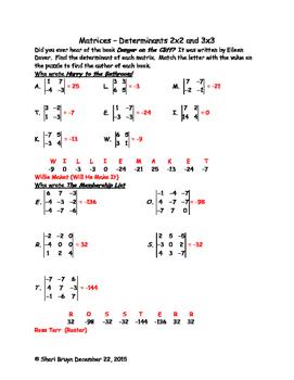Matrices - Determinants 2x2 and 3x3