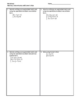 Matrices, Determinants and Cramer's Rule Worksheet