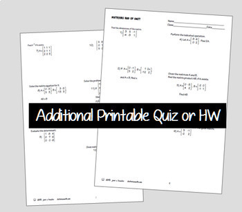 Matrices End of Unit Digital Task Cards plus HW with Google Slides