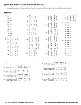 Matrices -- Finding the inverse of a two by two