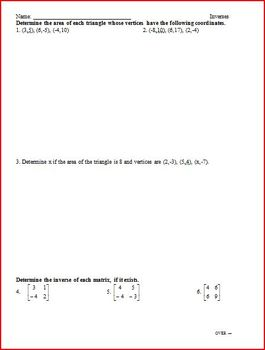 Matrices Inverses, Systems, Determinants (WS)