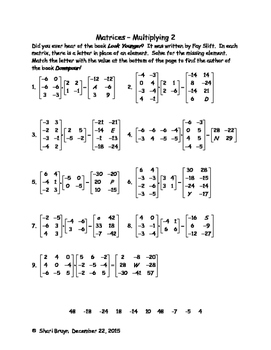 Matrices - Multiplication 2