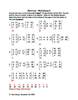 Matrices - Multiplication 2
