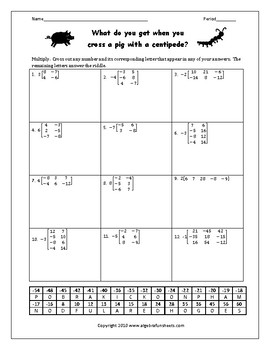 Matrix Operations Scalar Multiplication Worksheet