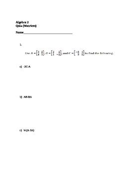Matrices QUIZ
