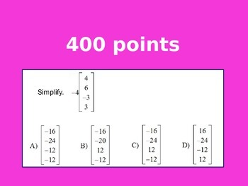 Matrices Review Game (ZONK!) by 123 teach - Brittany Kiser ...