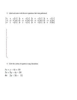Matrices Test, Version A (No Key)
