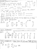 Matrices Unit - Fill in the blank notes and quiz