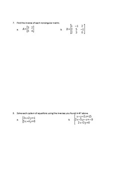 Matrices and Matrix Operations Review