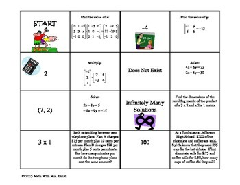 Matrices and Systems of Equations Dominos Activity