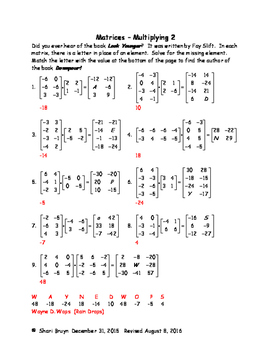 Matrices bundle: Multiply, Determinants, Cramer's Rule, Inverses and Coding