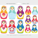 Matrioshka doll clipart - Russian nesting doll clip art, whimsical, Matrioshka