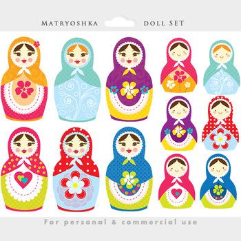 Matrioshka doll clipart - Russian nesting doll clip art, whimsical, Matrioshka